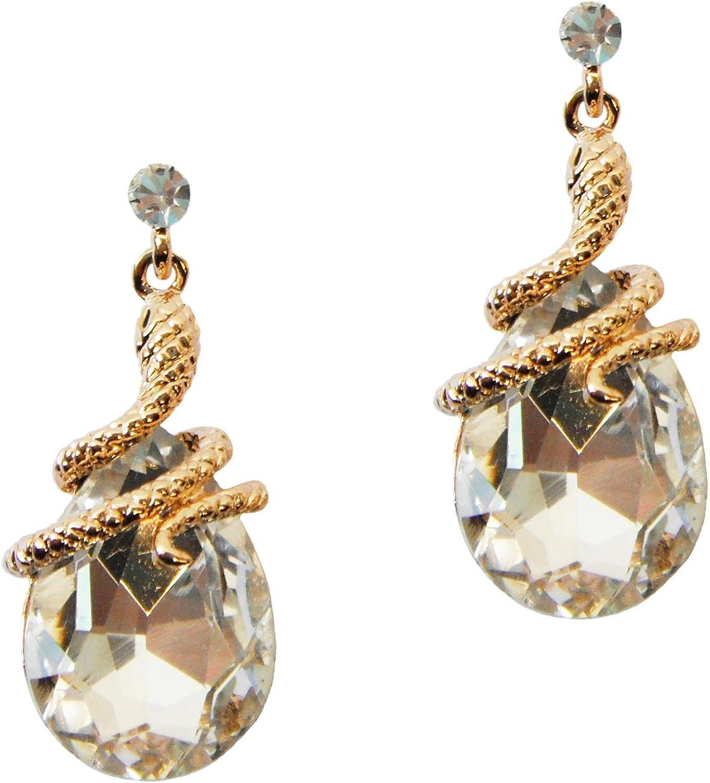 Navachi 18k Gold Plated Crystal Multicolor Pear Shape Zircon Snake Drop Dangle Earrings