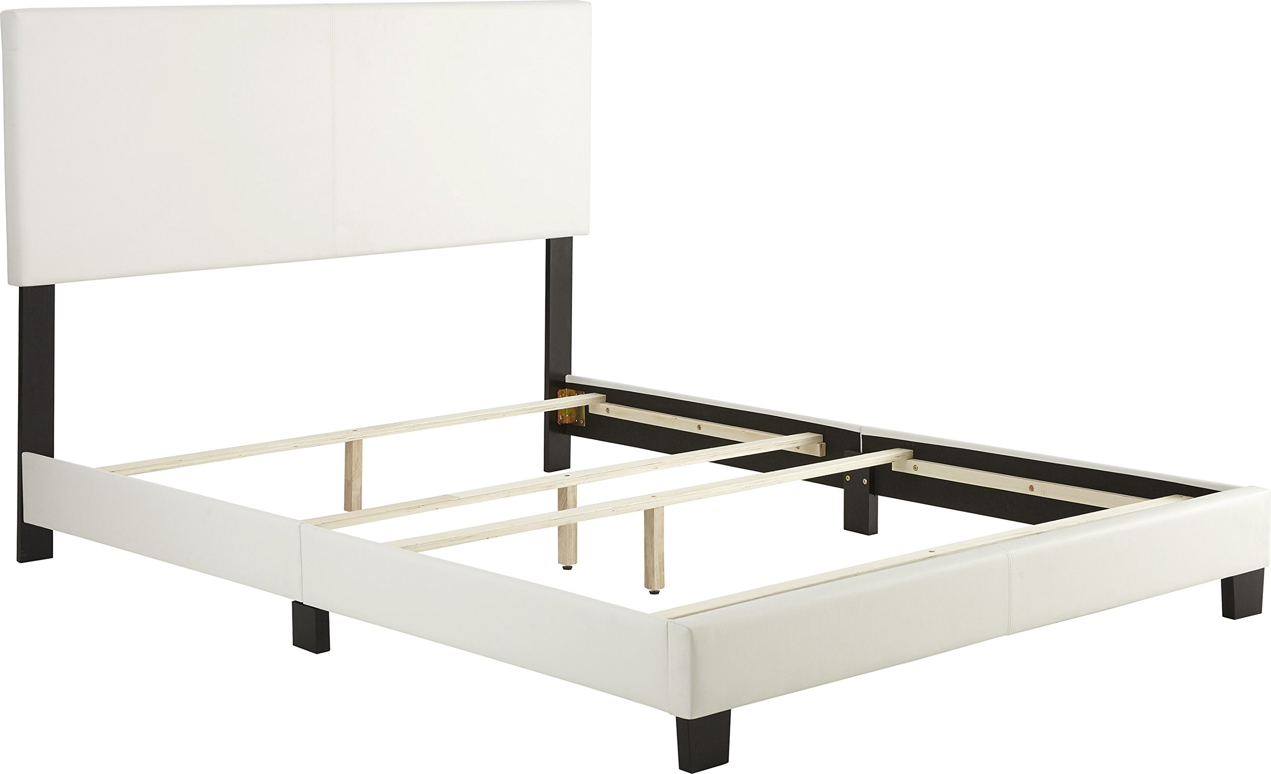 Flex Form Montana Upholstered Platform Bed Frame with Headboard: Faux Leather, White, Queen