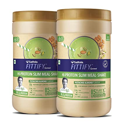 Saffola FITTIFY Gourmet HI PROTEIN SLIM MEAL-SHAKE Pistachio & Almond Buy 1  Get 1 Free 420 gm (12 servings)