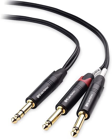 """3ft 6.35mm 1//4/"""" inch TRS Male to 2x Dual 1//4/"""" inch TS Male Insert Audio Cable"""