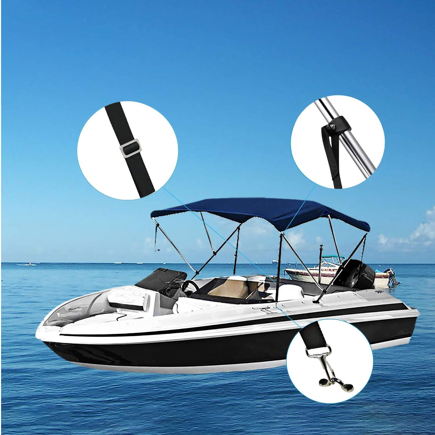 PERCARE 2 Pcs Adjustable Bimini Top Straps Black Marine Tension Tie Down Webbing Straps with Loop Snap Hooks Pad Eye Straps,28~60 Stainless Steel Boat Awning Hardware