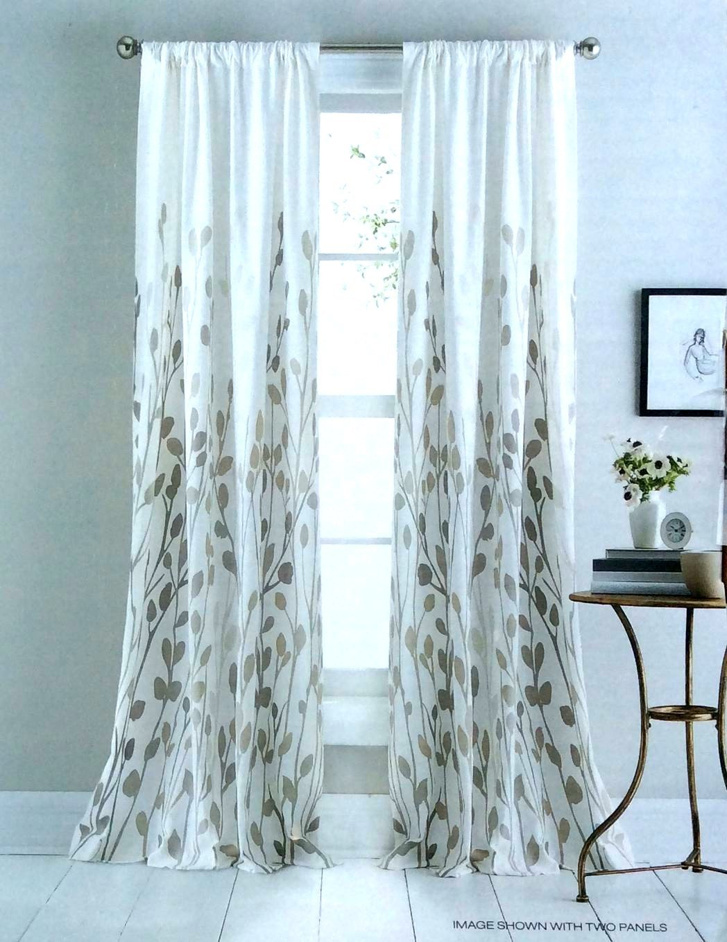 Amazon.com: DKNY Carroll Gardens Floral Road Pocket Curtains 100% Cotton 50  By 96 Inch Set Of 2 Floral Window Panels White Beige Tan Taupe Flowers  Branches: ...