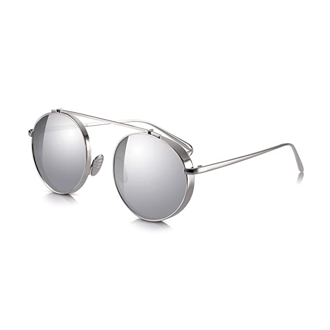 b14dcd9827ed Sunglass Junkie Mirrored Aviator Sunglasses for Men and Women. Retro  Designer Look with Single Brow Bridge and Rounded 100% UV Protection UV400  Lenses in ...