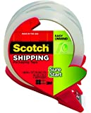 Scotch Sure Start Shipping Packaging Tape, 1.88 x 38.2 Inches, 4 Rolls and 2 Dispensers