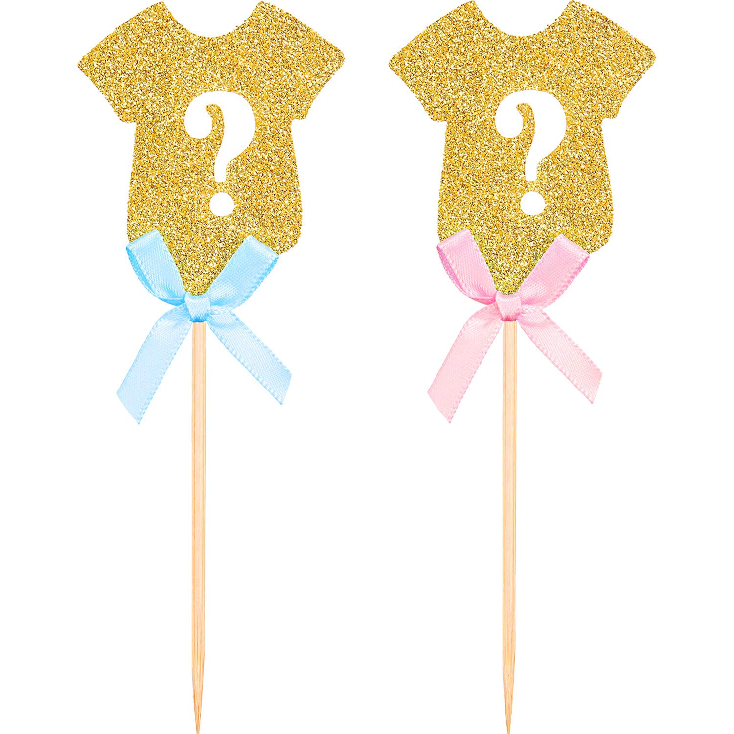 Maxdot 48 Pieces Glitter Gender Reveal Cupcake Toppers Gender Reveal Baby Shower Party Supplies Cake Decorations