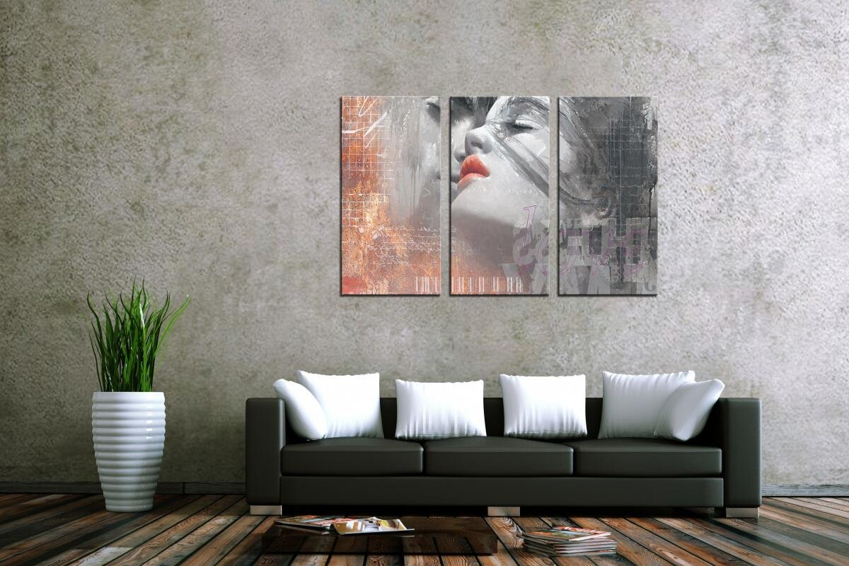 HLJ ART Red Lips Love Kissing Couples Picture Print Art Modern Giclee Canvas Artwork Stretched and Framed, Ready to Hang by HLJ ART (Image #2)