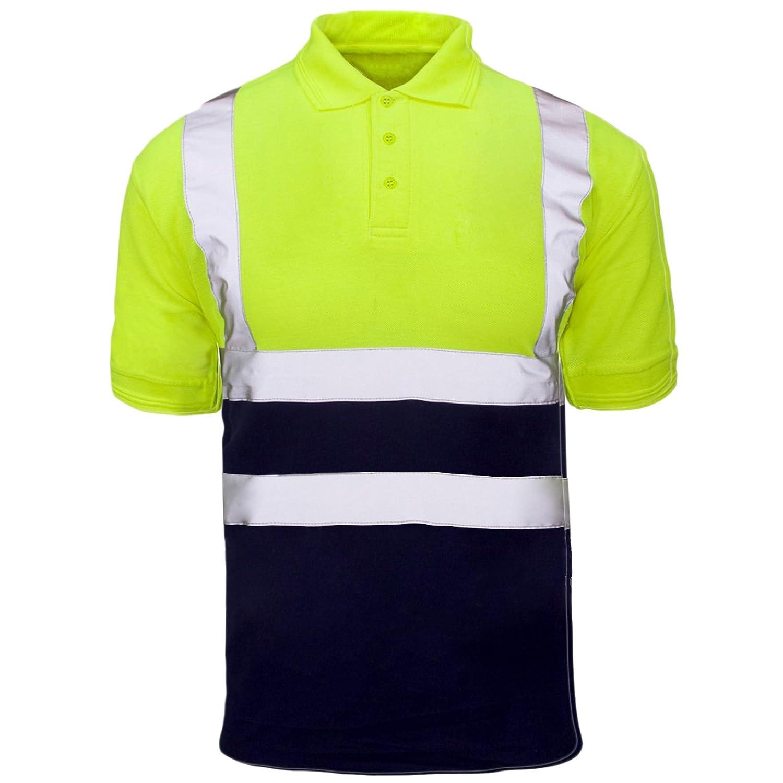 TALLA 3XL. MyShoeStore Hi Viz Vis Alta Visibilidad Polo Camisa Reflectante Cinta Ropa de Trabajo Seguridad Camiseta