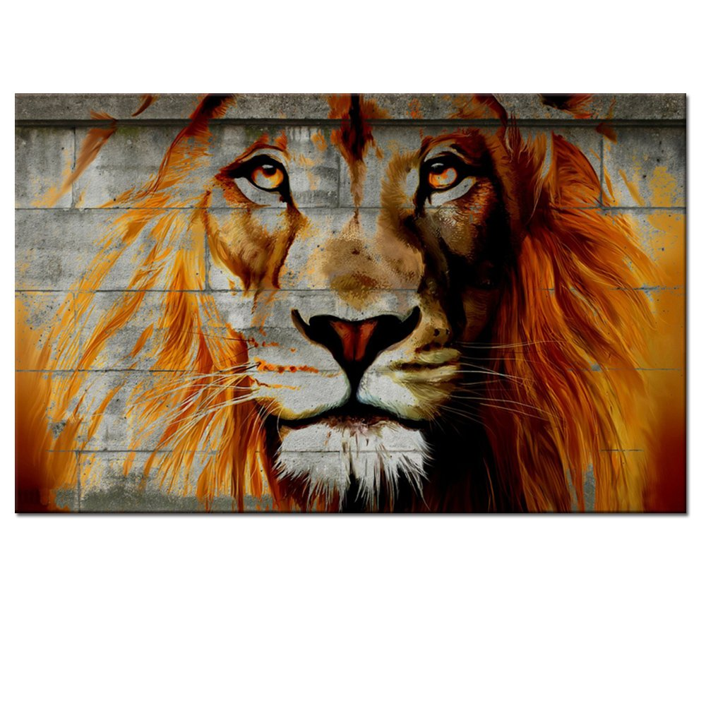 amazon com unique lion graffiti on wall framed african lion