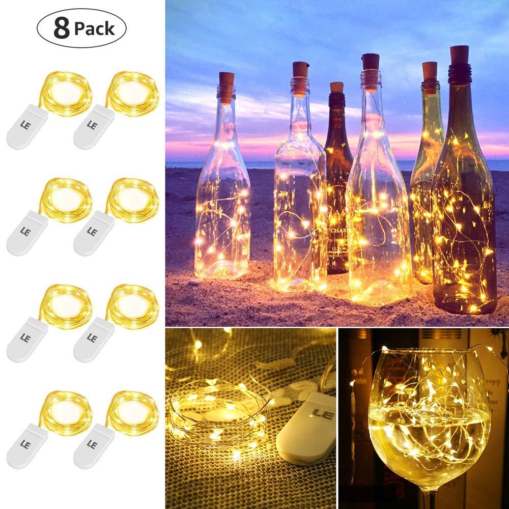 LE Guirnaldas Luces LED, Luces de Botella de Vino 8 x 1m 20 LED, Blanco Cálido, a Pilas, Decoración de Casa, Boda, Fiestas, Navidad, Jardines etc