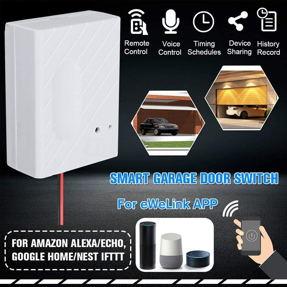 Phone Remote Control Door Opener Compatible with Alexa Google Home and IFTTT No Distance Limit Garage Door Controller WiFi Smart Garage Door Switch