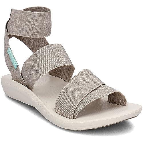 d175758381c5d5 Columbia Women's BARRACA Strap Sandals, Silver Sage/White, 8 Regular US