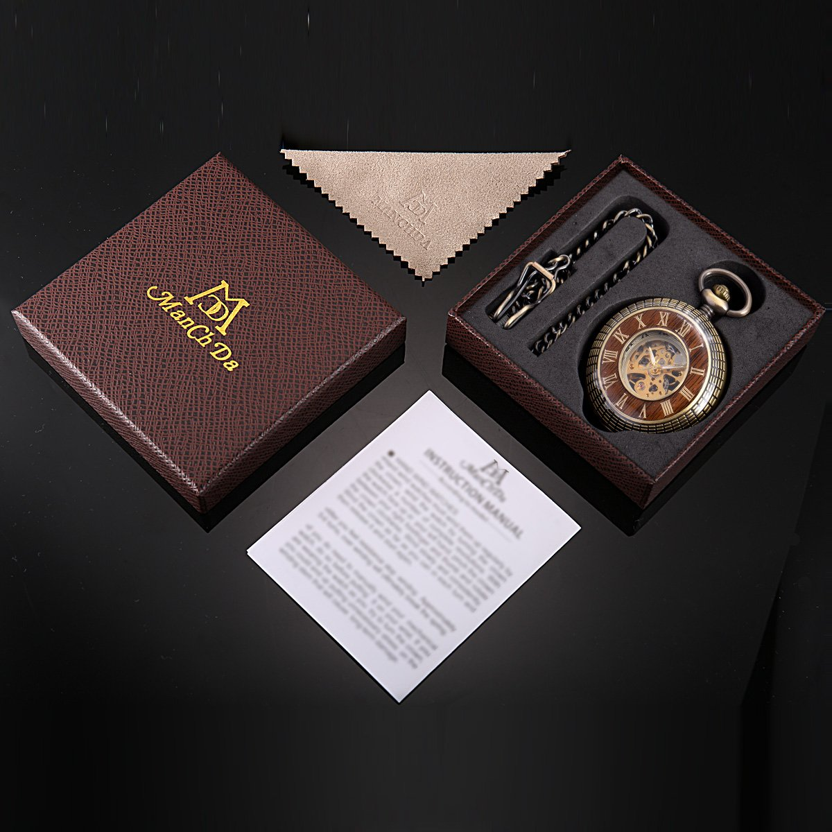 ManChDa Mens imitative wood Luminous Skeleton Mechanical Roman Numerals Pocket Watch With Chain Gift by ManChDa (Image #6)