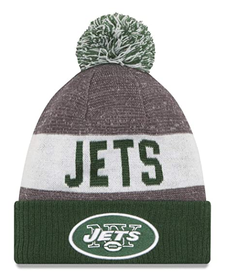 2816016f976344 Amazon.com : New Era Knit New York Jets Green On Field Sideline Sport Knit  Winter Stocking Beanie Pom Hat Cap 2015 : Sports & Outdoors