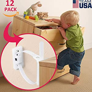Furniture Anchors for Baby Proofing(12 Pack) Furniture Straps Kit Anti Tip, Easy Installation Furniture Wall Anchors for Firmly Fixing, Adjustable Earthquake-Resistant Child Safety Straps