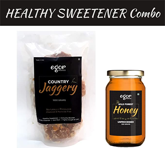 Egor Combo:Country Jaggery (1kg)+ Unprocessed Honey (500g) Organically  Produced, Chemical Free, Healthy Sugar Substitute