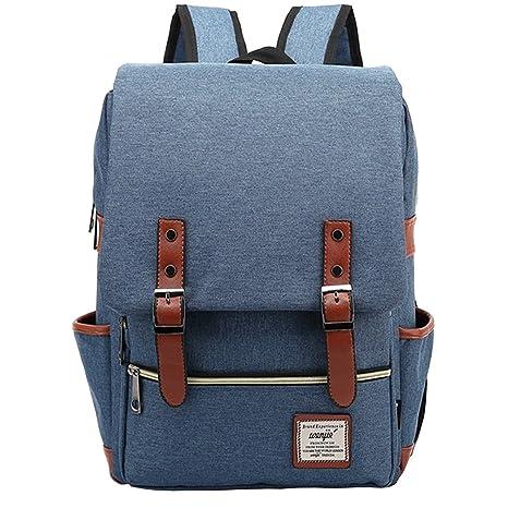 Minetom Casual Escuela Unisex Moda Vintage Mochila Backpack Rucksack Mochila Escolar para Ordenador Portátil Azul 14