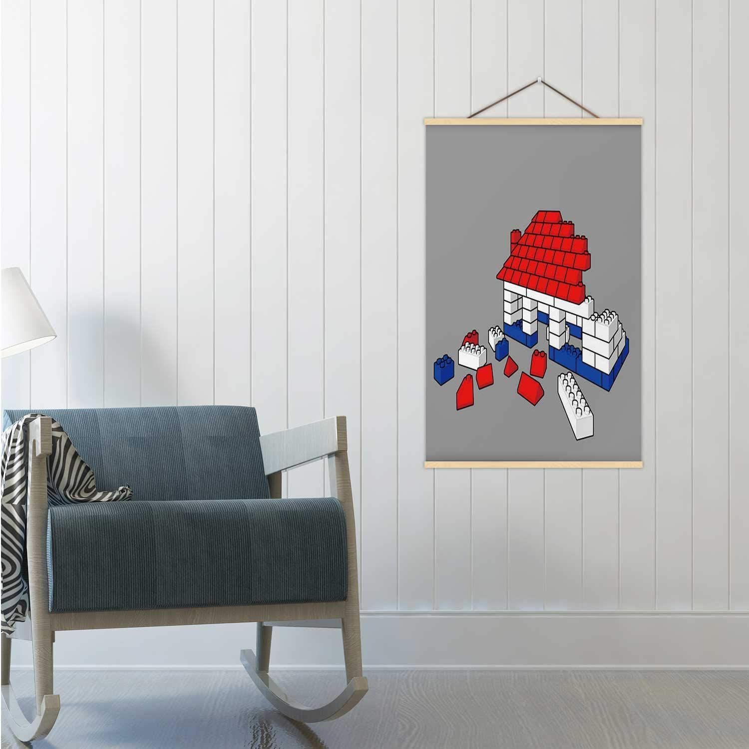 Hitecera Building a Toy House with Colorful Blocks - Illustration New Zealand,Poster Plastic Block Poster Frame 24x35in(WxH)
