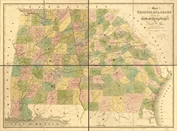 Map Of Georgia Roads.Amazon Com 1839 Map Of Ga Al Showing Post Offices Post Roads Of