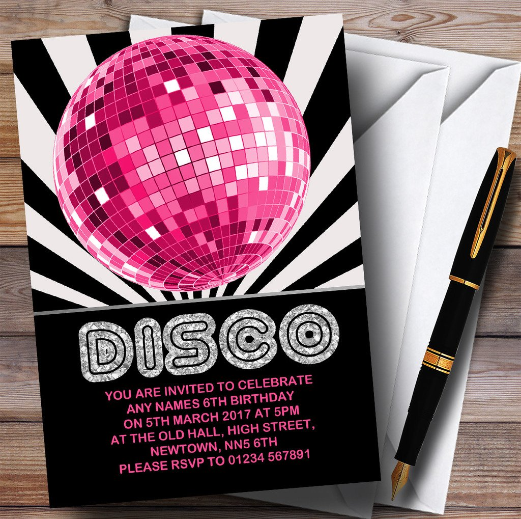 Disco Ball Pink Childrens Birthday Party Invitations