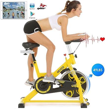 Ancheer Bicicleta de Spinning Bicicleta Indoor de Volante de Inercia de 22kg/18kg Bicicletas de Ciclo con Conecto con App Resistencia Ajustable y Monitor LCD para Ejercicio en el Hogar (Amarillo): Amazon.es: Deportes