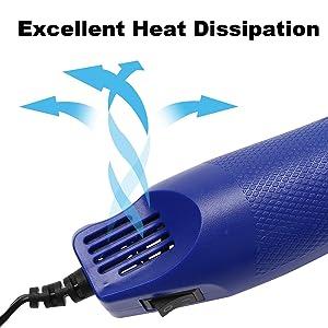 Paint Heat Gun for Craft Epoxy Blower Hot Air Heater for Embossing Stamps PVC Resin 300 EVA Tubing Pen Shrink Tubing Watercolor Dryer Blow Wax Emboss Hotmelt Foam Wrap Tool for Phone Cellphone(Blue) (Color: Blue Mini Heat Gun)