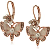 Betsey Johnson Women's Rose Gold and White Butterfly Drop Earrings