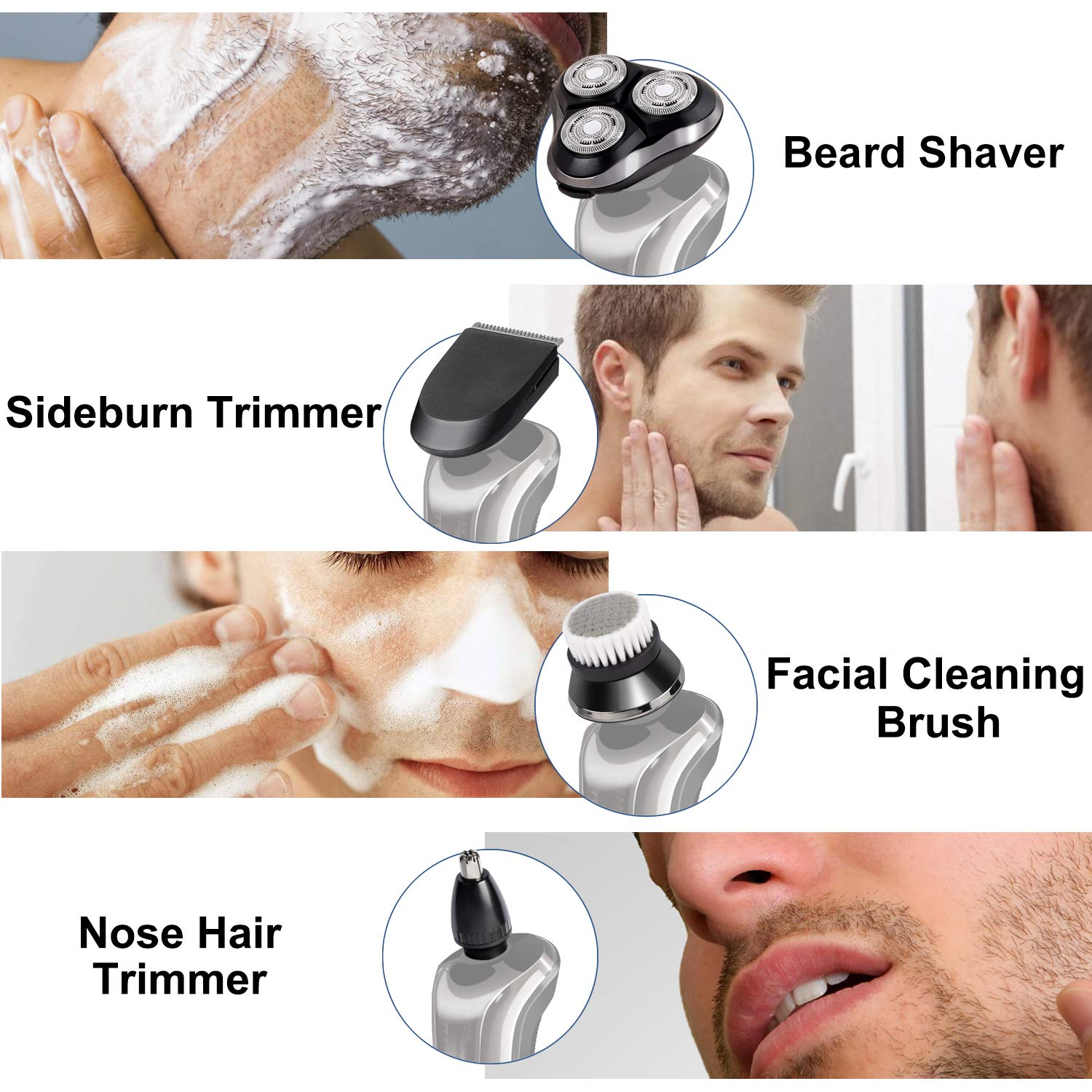 4-In-1 Rotary Razor Electric Shaver for Men, Cordless Wet & Dry Mens Electric Razors Set