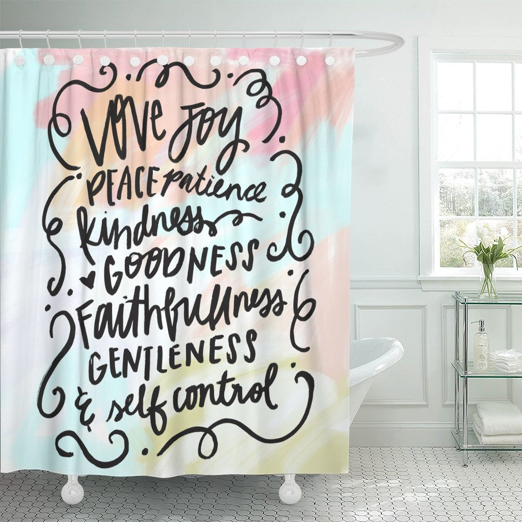 Breezat Shower Curtain Lettering Fruit of the Spirit Bible Verse Christian Wall Love Waterproof Polyester Fabric 72 x 72 Inches Set with Hooks