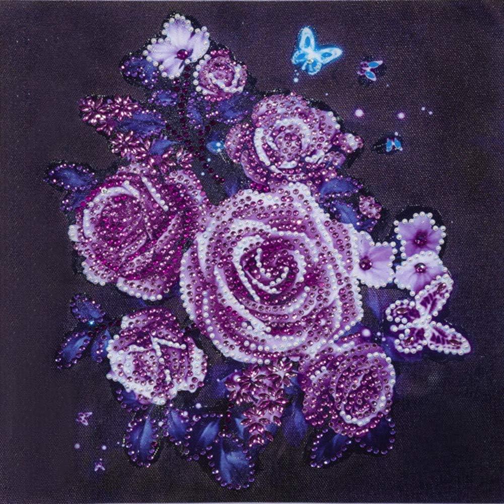 ABEUTY Kaleidoscope Purple Mandela Flowers Partial Drill Crystal Diamond Art Kits Diamond Painting DIY 5D Special Shape Rhinestones