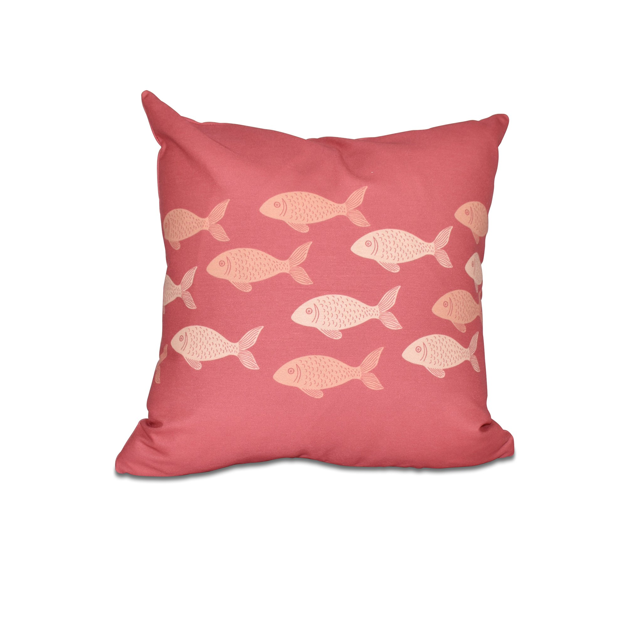 E by design 20 x 20'' Fish Line Animal Print Coral Pillow