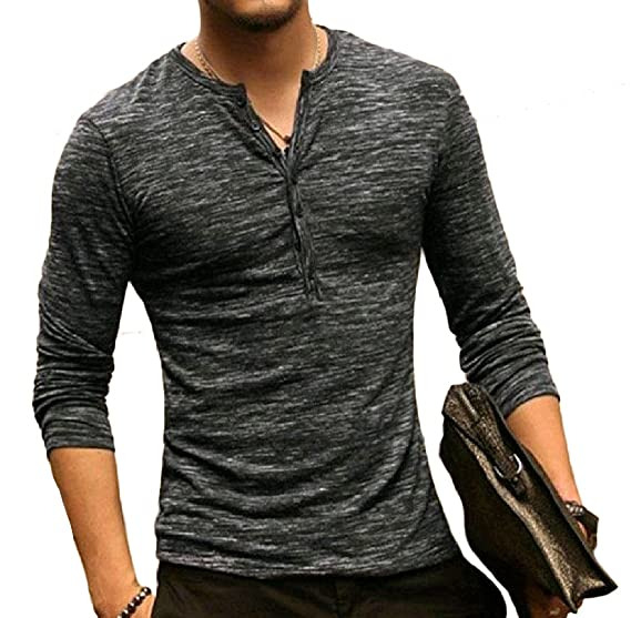 81246bad37d3 Mirror Mens Fashionable Button Down Long Sleeve Fitted T-Shirt Top Pullover  Tees Pattern1 S