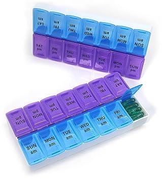 PuTwo Pastillero Semanal Paquete de 2 7 Días 14 Compartimentos Pastillero Semanal AM/PM con