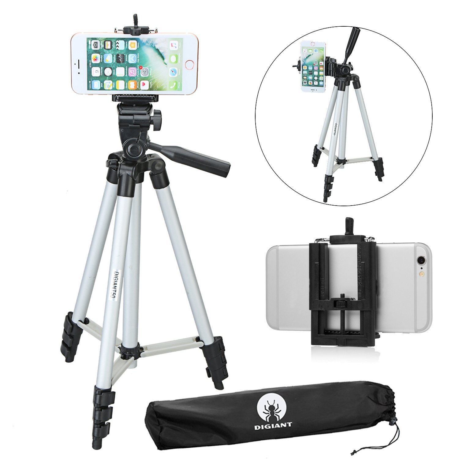 DIGIANT 50 Inch Aluminum Camera Phone Tripod+ Universal Tripod Smartphone Mount for Apple, iPhone Samsung and Other Brands Smartphones+Carrying Bag by DIGIANT