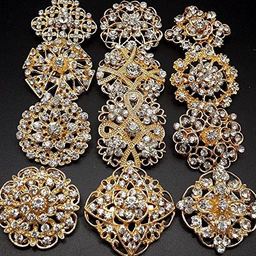 Mutian Fashion Lot 24pc Clear Rhinestone Crystal Flower Brooches Pins Set DIY Wedding Bouquet Broaches Kit by Mutian Fashion (Image #3)