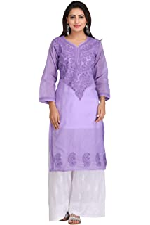 556c010118 ADA Hand Embroidered Lucknow Chikan Regular Wear Cotton Kurti Kurta  (A231367_Mauve)