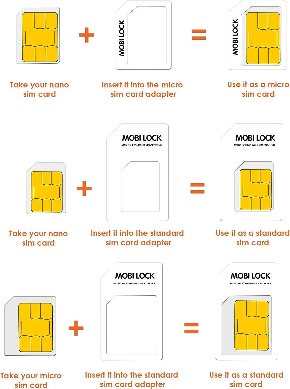 Adattatore Sim Card 6 in 1 (Micro, Nano e Standard Sim) con Lima Unghie e Storage Box Gratuito | Compatibile con iPhones, Samsung, HTC e Tutti gli altri dispositivi Smartphone Android di