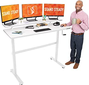 Stand Steady Tranzendesk 55 in Standing Desk w/Clamp On Shelf | Easy Crank Height Adjustable Stand Up Workstation w/Attachable Monitor Riser | Supports 3 Monitors & Adds Extra Desk Space (55