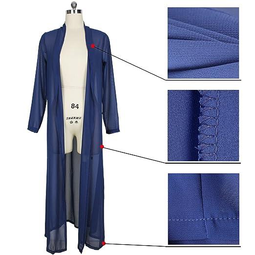 ... Maxi Larga Largo Chifón de Playa Cover Up Cardigan Cárdigan Blouse Blusón Blusa Shirt Camisero Camisa Duster Gabardina clásica Coat Capa Abrigo Top Azul ...