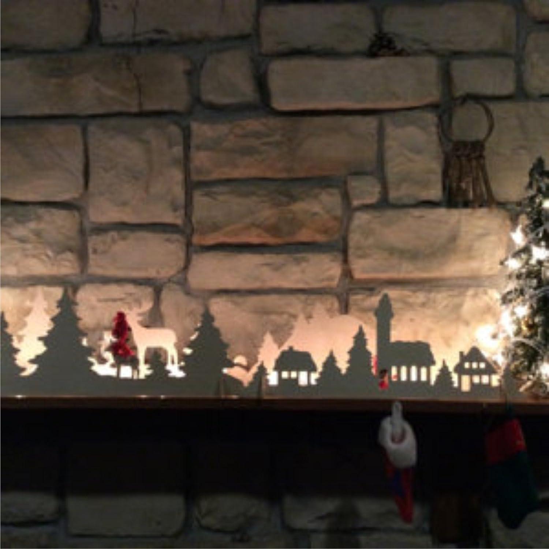 Christmas Lights Christmas mantle decor Mantle Candle Holders