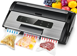 Commercial Vacuum Sealer Machine, 85Kpa Vacuum Sealer Machine for Liquid-Rich Food, Stainless Steel Sealer Machine with Inflation Function, Bag Roll Storage Chamber and Cutter, Ideal for Home and Shop