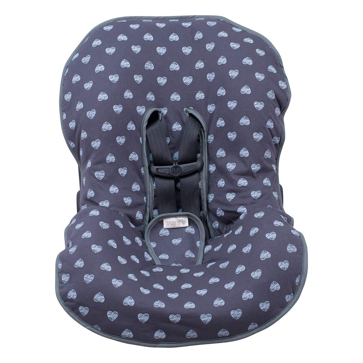 JANABEBÉ Universal Padded Cover Liner for Baby Carriers and CAR SEAT (Maxi COSI MICO, CHICCO, BRITAX, ETC) (Blue Heart) by JANABEBE