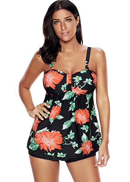 64086a207c8 Century Star Womens Two Piece Plus Size Swimsuit Loose Padded Splited  Swimwear Printed Floral Tankini Swimdress at Amazon Women s Clothing store