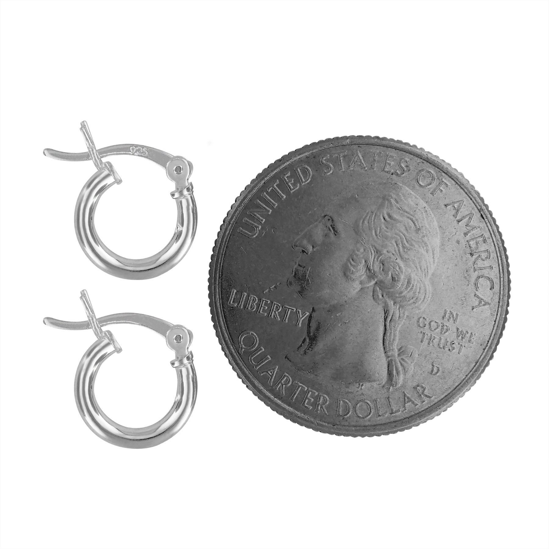 Sterling Silver Tiny Huggies Hoop Earrings 2mm x 10mm by Hawaiian Silver Jewelry (Image #4)