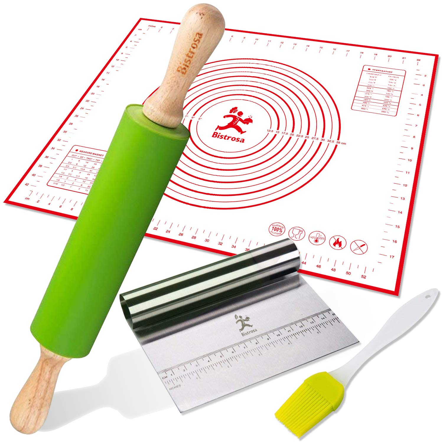 Rolling Pins for Baking Combo, Pastry Mat Kit With Chopper/Scraper and Basting Brush, Large 19x23 Inch Reusable Silicone Non-Slip Non-Stick Mat With Fondant/ Dough Measurements/Dough Roller Baking Set Bistrosa PM01