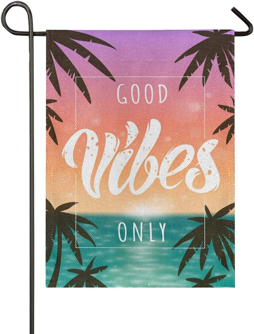 VIKKO Good Vibes Only Palm Tree Garden Flag Home Outdoor Decor Small Yard Banner with Imitation Burlap Effect and Double Side Printing - 12 x 18 Inch