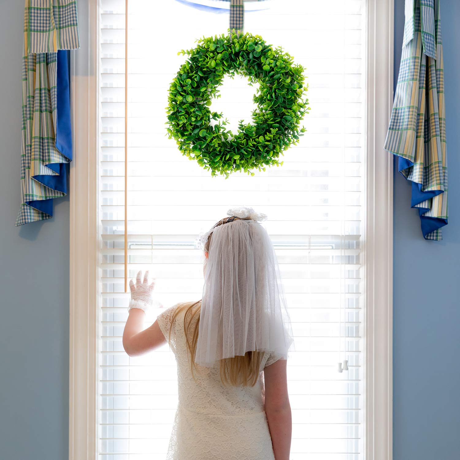 Bhappy Artificial Green Leaves Wreath Boxwood Wreath Eucalyptus Wreath Lavender Wreath 15 inches for Outdoor Indoor Front Door Home Wall Window Wedding Farmhouse D/écor