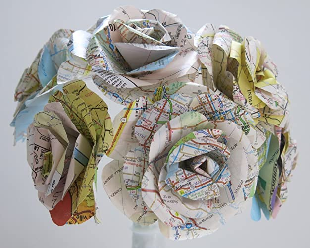 Amazoncom Large US Road Map Paper Flowers USA State Map Roses - Large us road map
