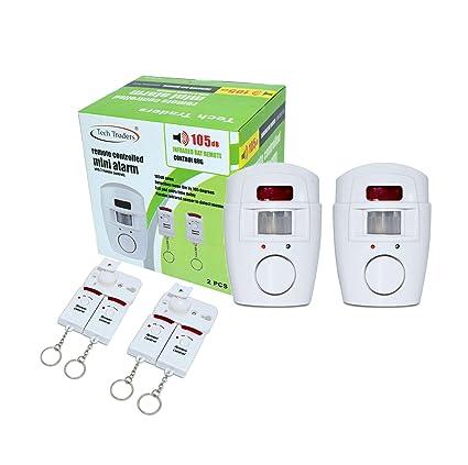 Tech Traders - Alarma inalámbrica con Sensor de Movimiento y 2 mandos a Distancia, Color Blanco