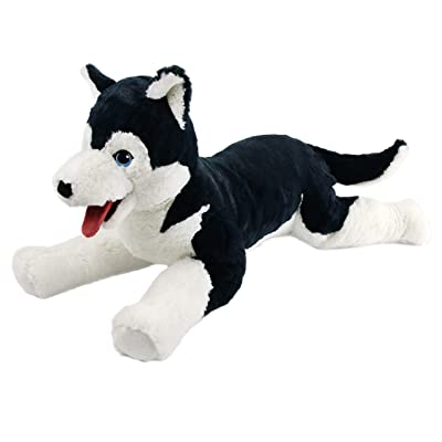 Houwsbaby Large Plush Husky Stuffed Animal Soft Dog Puppy Toy Cuddly Alaskan Malamute Gift for Kids Boys Girls Pets Holiday Birthday, 27.5'' (Husky): Toys & Games