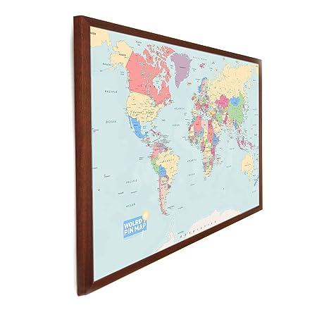 Laminated World Pinboard Map Framed In Dark Wood X Cm New - World pinboard map wood framed